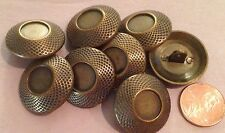 "8 Large Antiqued Brass Tone Metal Buttons Domed 1"" 25mm # 7421"