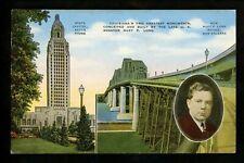 Louisiana LA postcard Baton Rouge State Capitol New Orleans Long Bridge linen