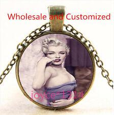 Marilyn Monroe Cabochon bronze Glass Chain Pendant Necklace TS-4840