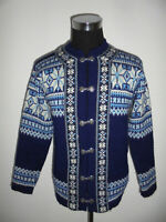 Nordstrikk Norweger Strickjacke Wolljacke norway jacke Wolle blau hippie M