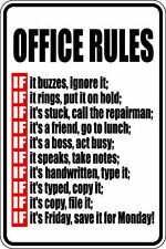 "*Aluminum* Office Rules 8""x12"" Metal Novelty Sign  S084"