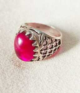 Lovely Ring Man Engraved 925 Sterling Silver Crowned Stone Ruby الشتان Size 22mm