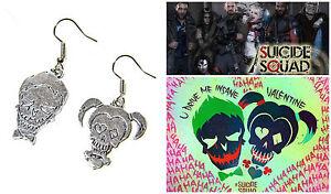 New Suicide Squad Joker & Harley Quinn Batman Dangle Earrings Cosplay W/Gift Box
