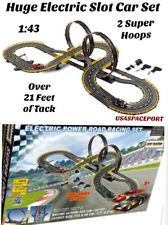 Kids DELUXE Electric Power ROAD RACING LOOPS SET 2-Slot Cars 22'+Race Track 1:43