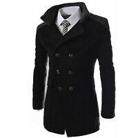 Jacket Long Overcoat Mens Coat Trench Outwear Wool Warm Breasted Winter Double