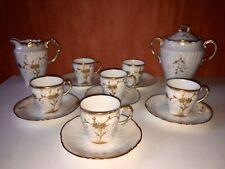 Service de 6 Tasses A Café Porcelaine de Limoges Blanc & Doré Pot À Lait Sucrie