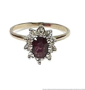 Extremely Fine Natural Ruby Diamond Halo 14k White Gold Ring
