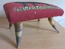 Antique Cow / Bull Needlepoint footstool ottoman with Horn Feet / Legs