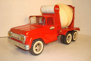TONKA TOY RED FORD CEMENT MIXER PICKUP DELIVERY TRUCK #120 ORIGINAL SHAPE NO BOX