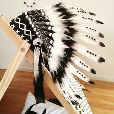 Zebra indian feather headdress war bonnet American costume hat for halloween