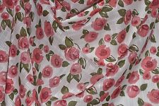 """Rose Floral Print Novelty Weave 100% Cotton Lawn 55"""" Wide Fabric by the Yard"""