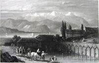 Greece Achaea AIGIO VOSTIZZA Akhaia Currants Lake Dam ~ 1827 Art Print Engraving