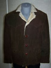 Vintage SCHOTT BROTHERS RANCHER Leather SUEDE Shearling Lined COAT 46 MARLBORO