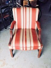 Mid-Century Mahogany Upholstered Side Chair Red/White Stripe Traditional