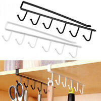6 Hooks Cup Holder Hang Kitchen Cabinet Under Shelf Storage Rack Organizer