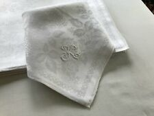 "7/ 27"" xlarge formal Linen damask napkins "" K "" 1920's mended, boiled, pressed"