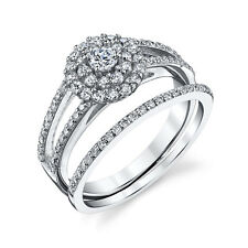 Sterling Silver CZ Engagement Wedding Ring Set Cubic Zirconia & Matching Band