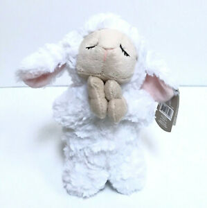 "Baby Ganz Lamb Plush 8"" Cuddly Musical Silent Night White Red Bow Christmas Gift"