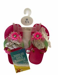 Toddler Girls Pink Beach Flip Flop Sandals Size 7/8