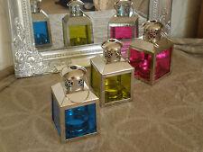 Set 3 metal Tealight/tea light candle lantern holders wedding pink blue 11cm