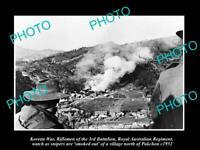 OLD LARGE HISTORIC PHOTO KOREAN WAR AUSTRALIAN 3rd BATTALION RIFLEMEN c1952