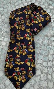 Men's Navy Blue Silk Tie Decorated TEDDY BEARS by Pink of London