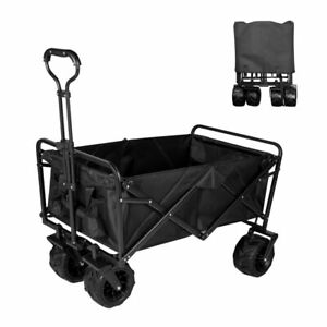 Collapsible Heavy Duty Folding Wagon Cart Utility Wagon with All Terrain Beach