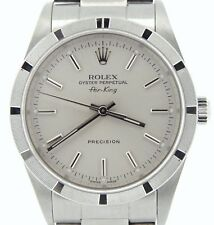 Rolex Air King Precision Men Stainless Steel Watch Oyster Band Silver Dial 14010