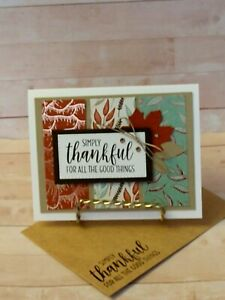 Stampin up! SIMPLY THANKFUL- Handcrafted-  Card Kit-Set of 4-