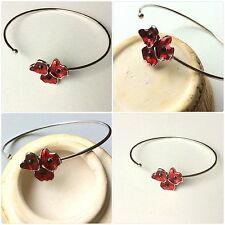 Poppy flower Wrap Bracelets - Beautiful Red Enamel Poppy Flower Wrap Bracelets