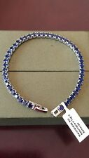 Beautiful Simulated Blue Sapphire Silver Plated Bracelet - Size 7.75""