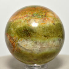 40mm Green Opal Sphere w/ Orange Calcite Natural Quartz Mineral Stone Madagascar