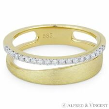 in 14k Yellow White Gold 0.16ct Diamond Right-Hand Stackable Ring Brushed-Band