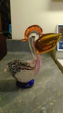 """Hand Blown Art Glass Bird Pelican Figurine with Fish in mouth Paperweight 7"""""""