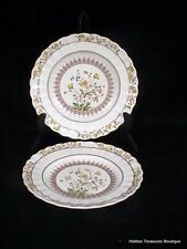 Copeland Spode Buttercup (Older Mark) 2 Salad Plates Yellow Flowers/Brown