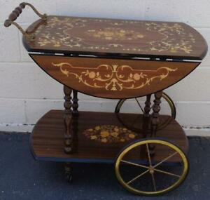 Gorgeous Wooden Tea Cart – BEAUTIFULLY INLAID MARQUETRY – VGC – MADE IN ITALY