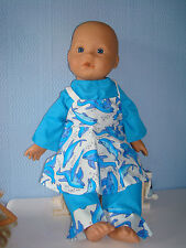 """Blue Top,Trousers & Dolphin Pinafore ,  Fits Baby Annabell /Born  16/18""""  Dolls"""