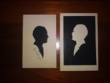 Original CAREW Rice Hand Cut Silhouettes Double Portrait Family FOLK ART So Car