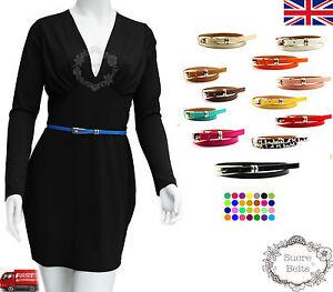 Ladies Women Fashion Skinny Thin PU Leather Waist Belt UK Seller Fast Shipping