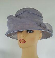 Ladies Wedding Hat Races Mother Bride Ascot Hat Mauve Chiffon Swoops