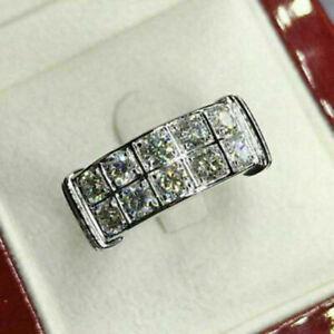 Men's Engagement Wedding Two Row Band Ring 4.52 Ct Round Diamond 14K White Gold