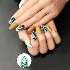 False nails UV Gel Coffin Ethnic Black Gold Turquoise 24pk VIVI Nail