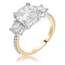 Cz Royal Bridal Anniversary Ring Sze 7 Yellow Gold 3.65 Cw Triple Stone Cushion