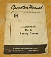 Vintage 1959 International Harvester McCormick 26 Rotary Cutter Operators Manual