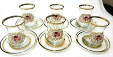 12 Pieces 6 set Tea Glasses With Saucers Set Of 6 - LAV EVA High Quality Luxury