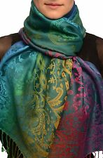 Large Ombre Paisley On Yale Blue Pashmina With Tassels (SF002581)