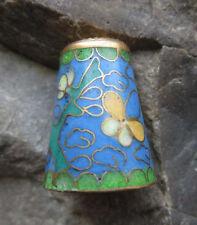 Ditale Thimble CLOISONNE SMALTO farfalla fiori Ornament OTTONE? f21