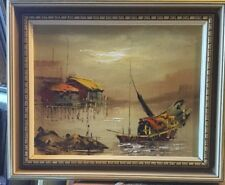 Junks At Harbour Framed Oil Painting