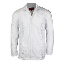 Guayabera Men's Cuban Beach Wedding Long Sleeve Button-Up Casual Dress Shirt