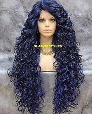 Long Spiral Curls Layered Black Blue Mix Lace Front Full Wig Heat Ok Hair Piece